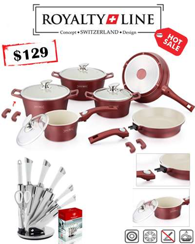 Red color 14 Pcs Ceramic coating cookware and 8 pi