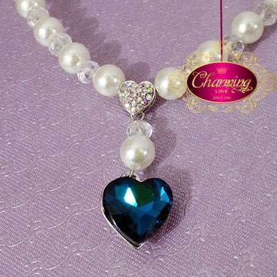 Dark blue Heart and Pearls Necklace