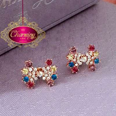 Gold plated Butterfly and colorful stones Earrings