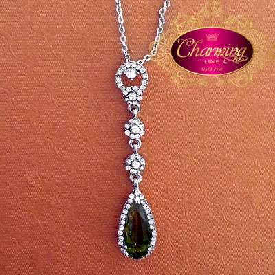 White Gold plated Dark Green Tear Stone necklace