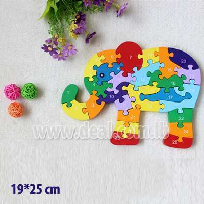 26 English math toys alphanumeric cognitive wooden cute elephant enlightenment early jigsaw puzzle