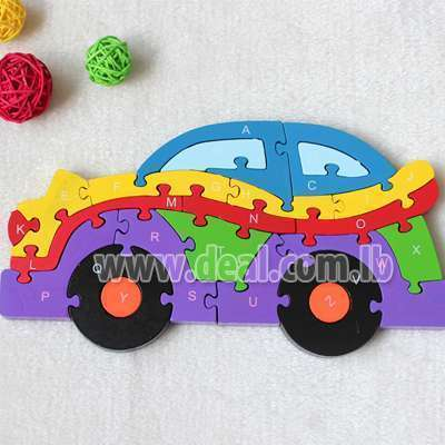 26 pieces Double Sided Jigsaw Puzzle car ,Baby Nursery Wooden Numbers and Letters learning, educational toys