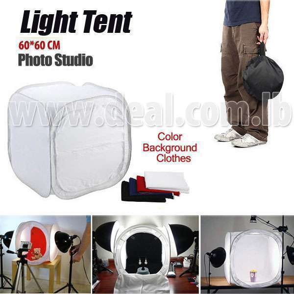 Photo Studio 60x60cm Light Cube Tent Softbox With Color Backgrounds -Deal 277-