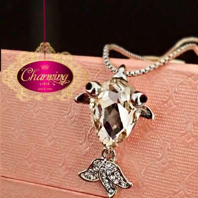 white Gold plated fish stone Crystal silver necklace