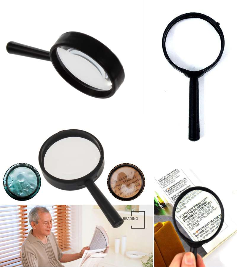 Small Glass Lens 5x Optical Handheld Magnifying Magnification Magnifier Black