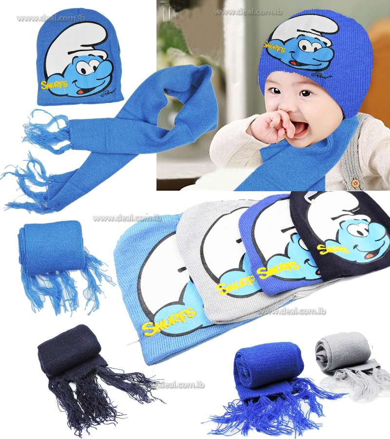Smurf winter Scarf and Hat