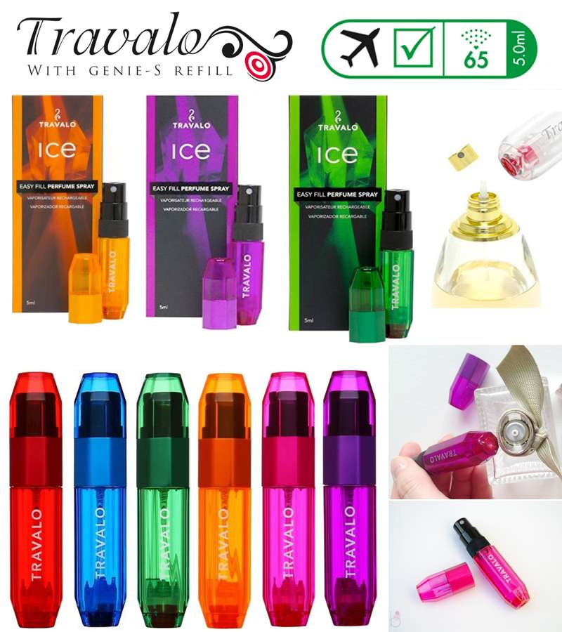 Travalo Ice Easy Fill Refill Perfume Spray Atomiser Travel Container Bottle 5ml