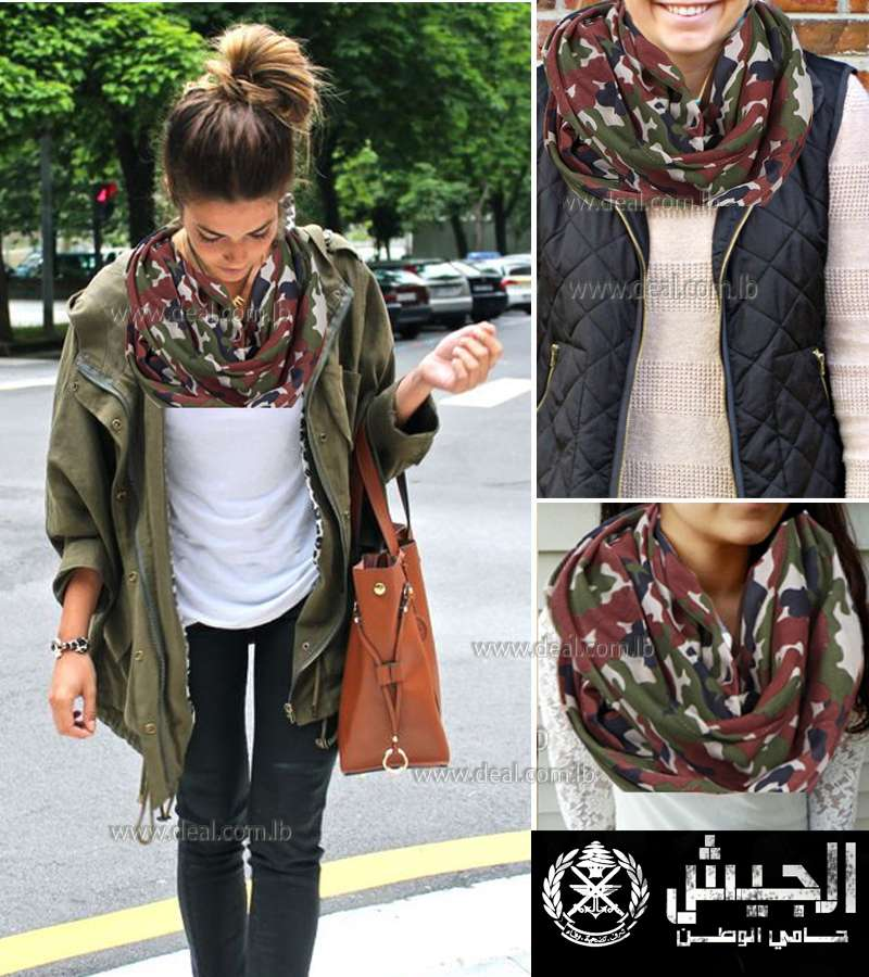 Unisex scarf Brown Green Cream Red Camouflage Scarf Army Scarf.