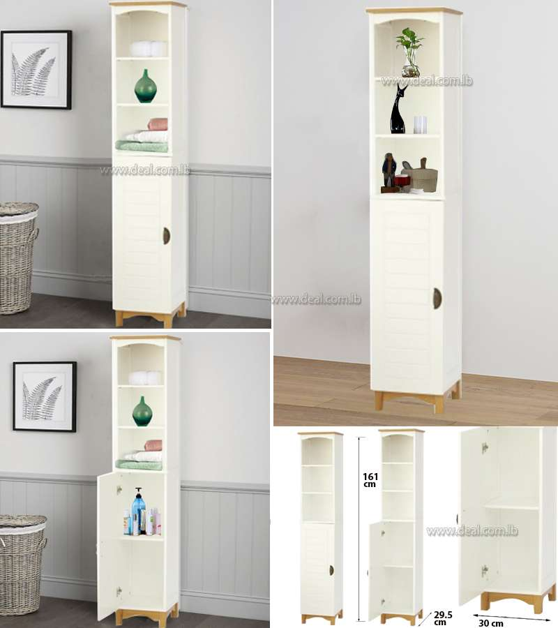 White Wooden Bathroom or salon Cabinet Shelf  Bedroom Storage Unit
