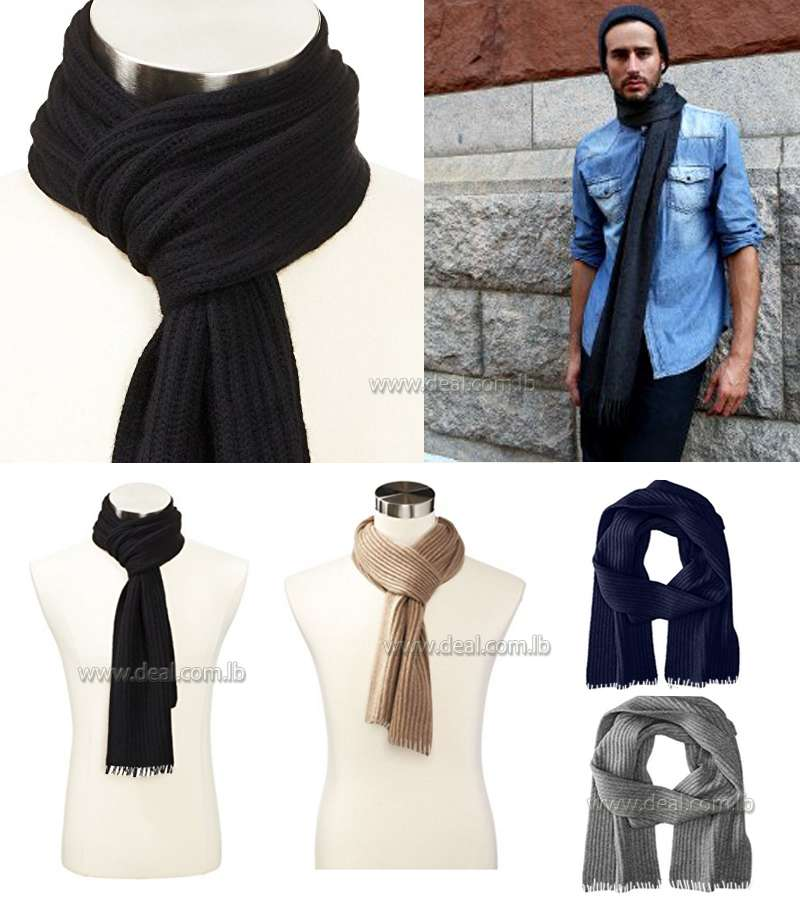 Winter men Wool Solid Colors scarf