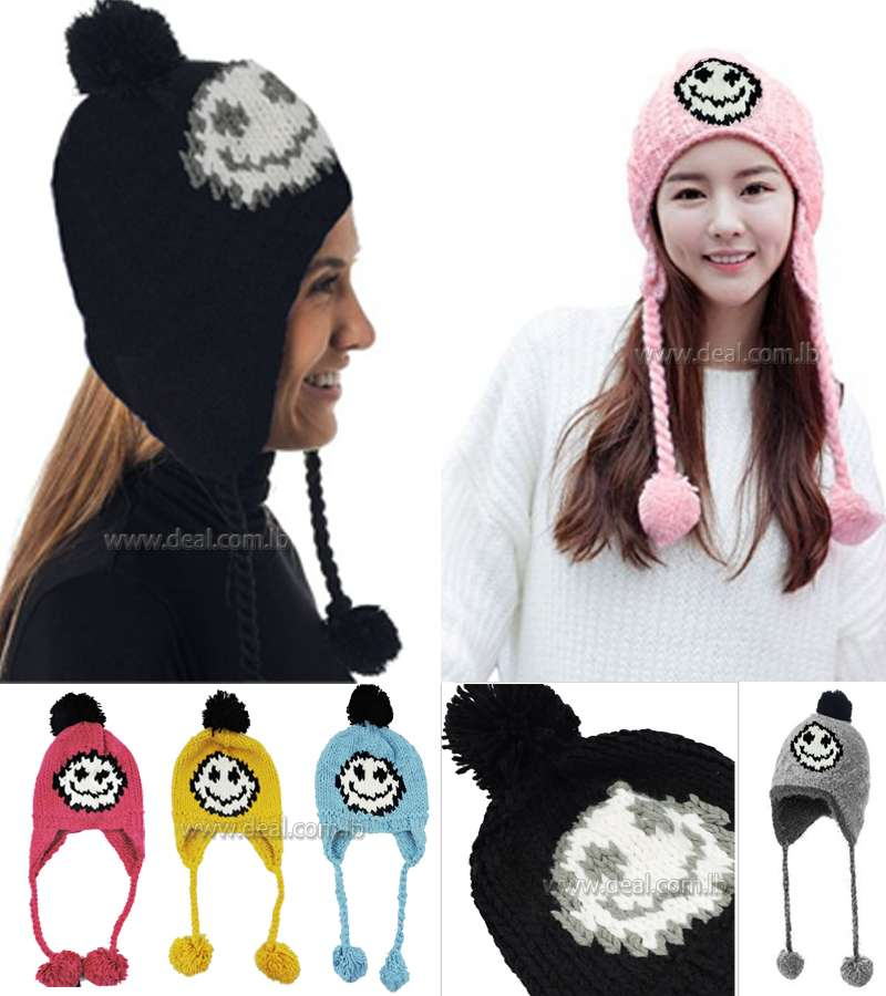 b9c1bfb5ee3 Women Cable Knit Peruvian Beanie Wool Winter Hat Cap with Earflap Pom