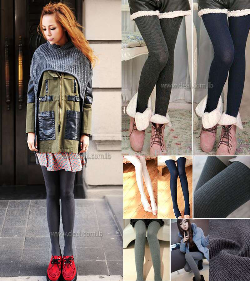 Women Winter Thick Knit Tights Wool Stockings For Women Girl Pantyhose Woolen Yarn Trousers