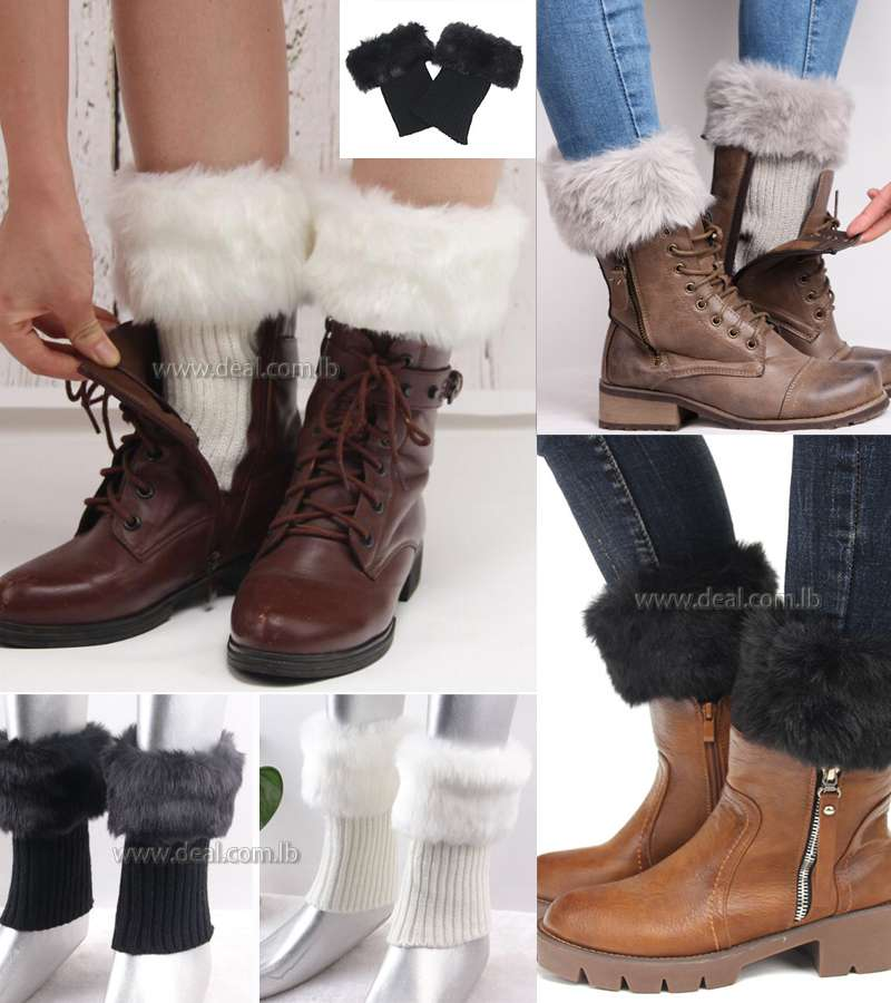 Womens Winter Warmers Cutout Leg Warmers Faux Fur Knit Knee Boot Socks Boot Toppers Hot Ankle Boots