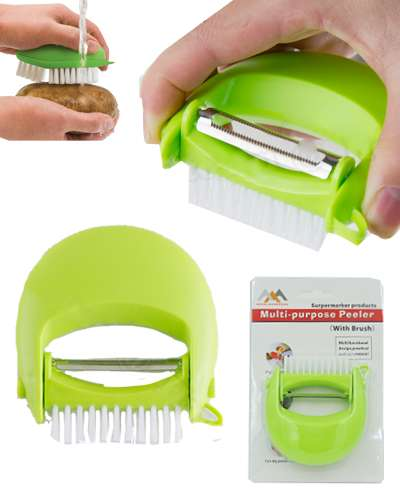 Creative Multi-purpose Vegetable Fruit Peeler With Brush Rotate Head