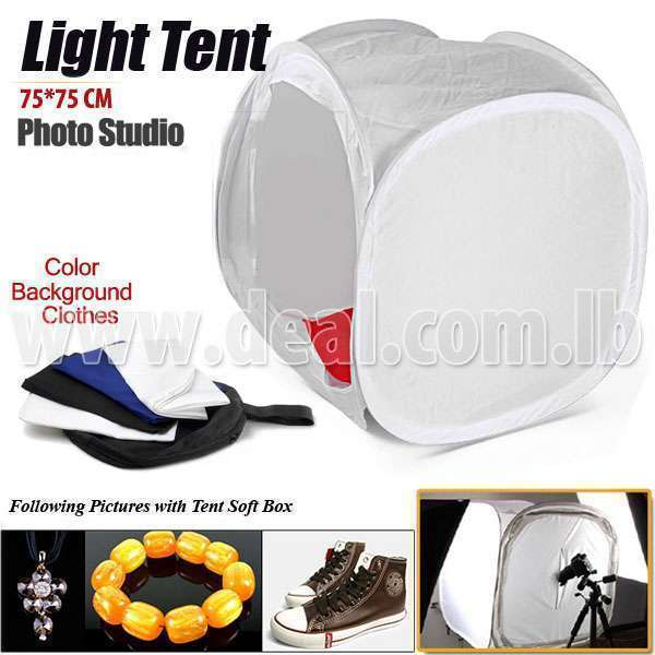 Photo Studio 75x75cm 32 Light Cube Tent Softbox with 4 Color Backgrounds - Deal 278-
