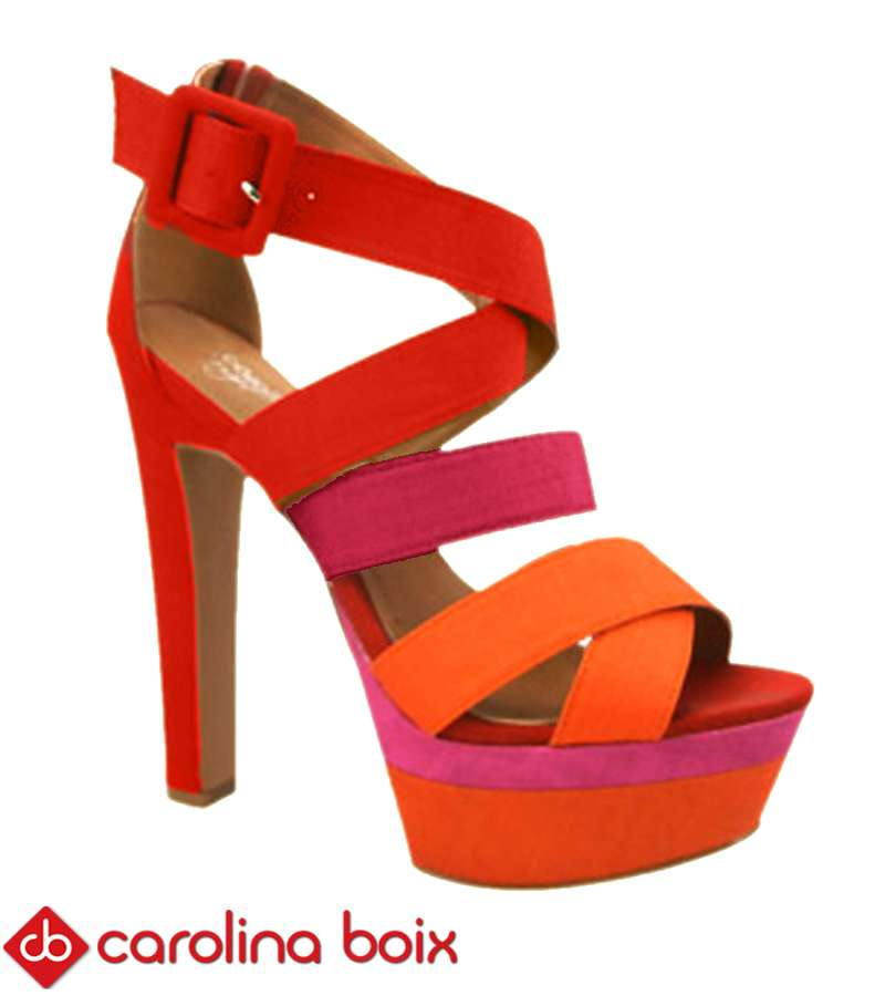 Stripped 3 colors Carolina Boix heel