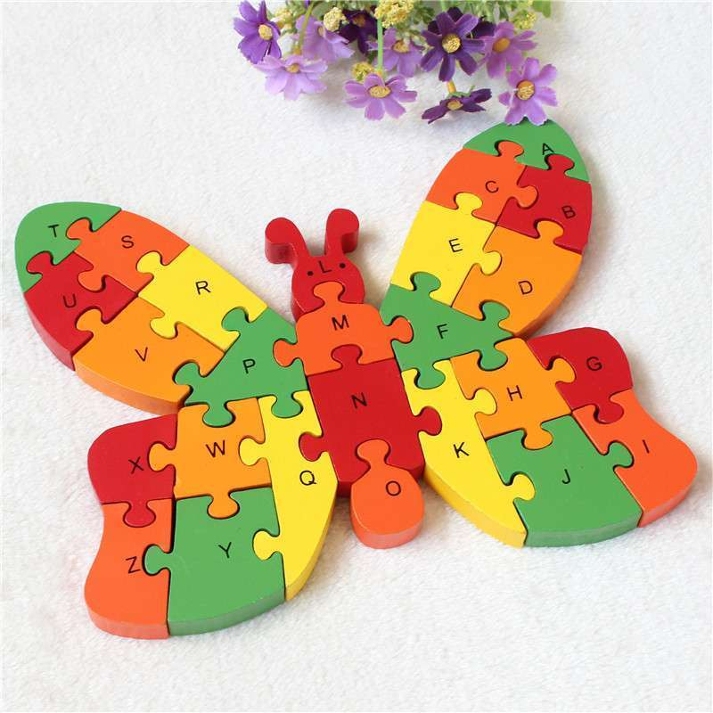 26 pcs Numbers butterfly alphanumeric cognitive wooden puzzle enlightenment early jigsaw puzzle