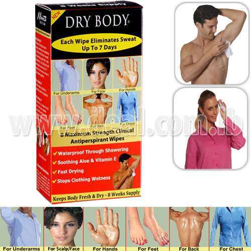 Dry Body Patented All-In-One Clinical Antiperspirant Wipes