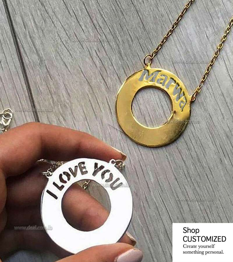 Sterling Silver I Love You Round  Charm Necklace