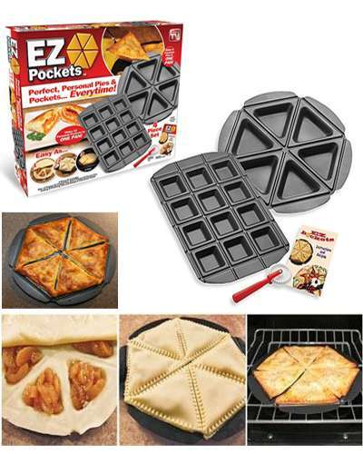 EZ Pockets Pizze & Pie Baking Pans , As seen on TV