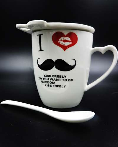 Hello Mr. Mustache Ceramic Mug Coffee Cup with Cov