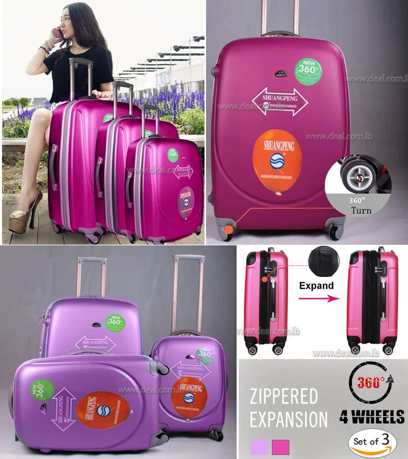 4 Weels 360 degree  Zippered Expansion universal spinner wheels colorful eminent  trolley luggage