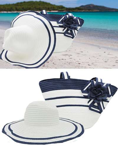 Blue & white Girls Beach Hat and Bag