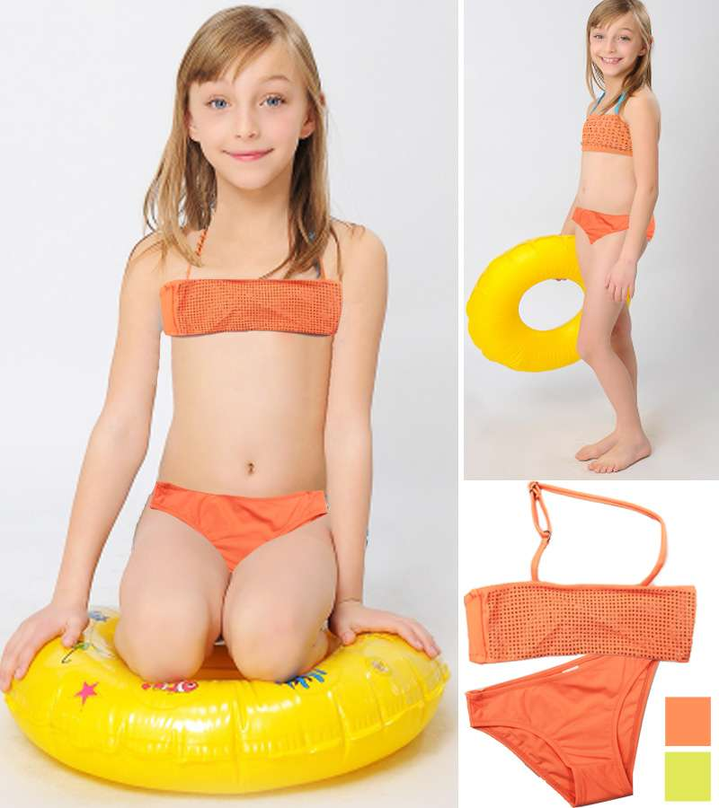 children swimsuit orange and yellow summer beach