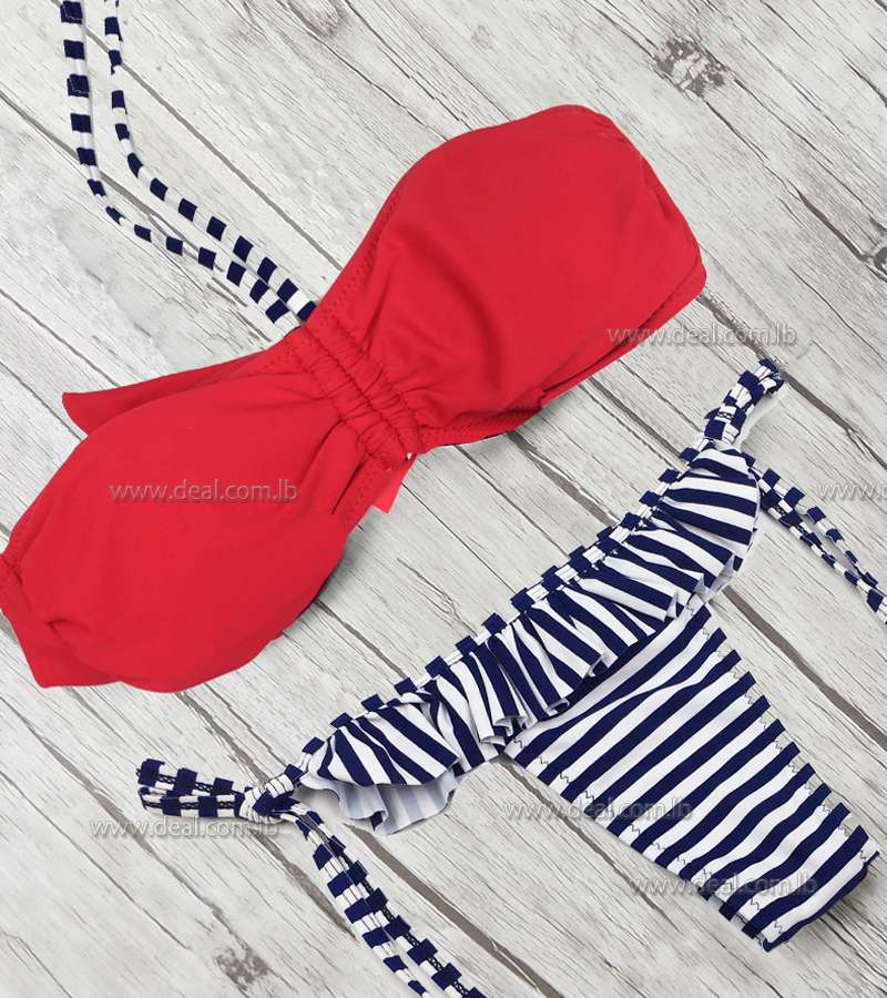 Stripped  red 2 pieces swimsuit