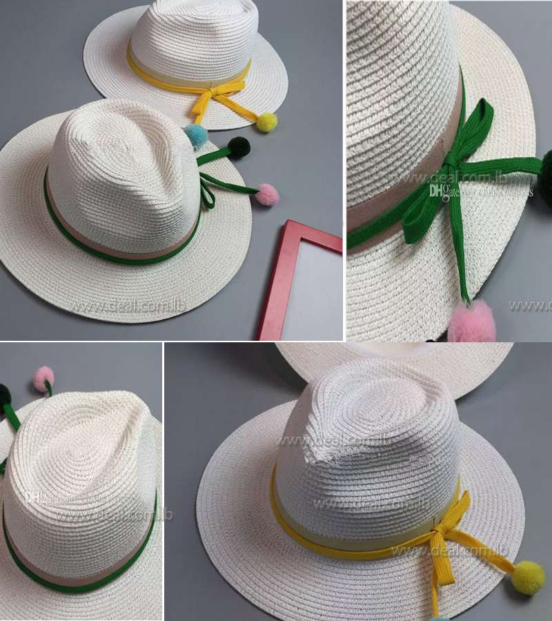 fresh bow wide brimmed straw jazz hat children summer sun hat tide