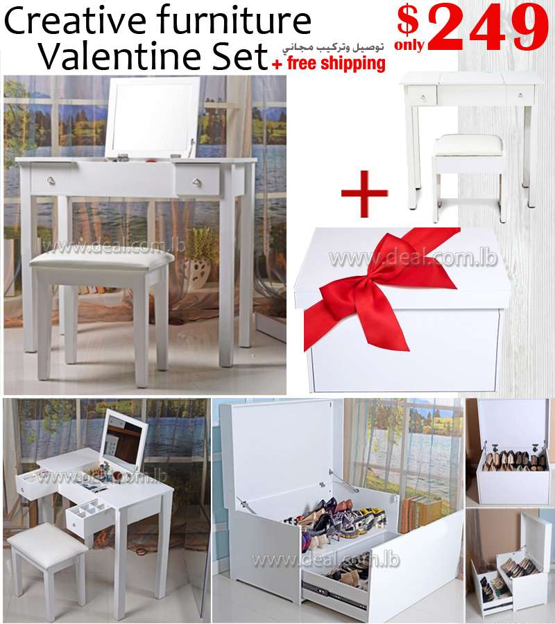 Creative Furniture Valentine Set Dressing Table with Mirror +White Multifunction wooden storage giant shoe box