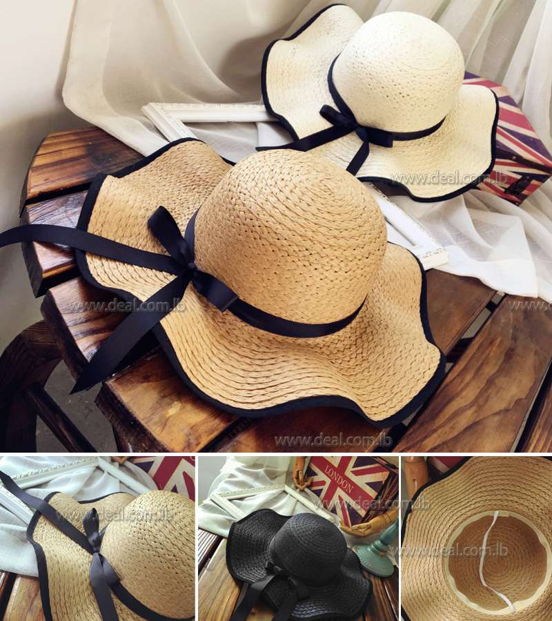 Elegant fashion summer hats for women bowknot wide large brim Wave edge straw beach hat girl Travel casual sun hats