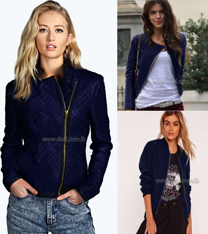 Dark Blue  Winter Casual jacket with zipper