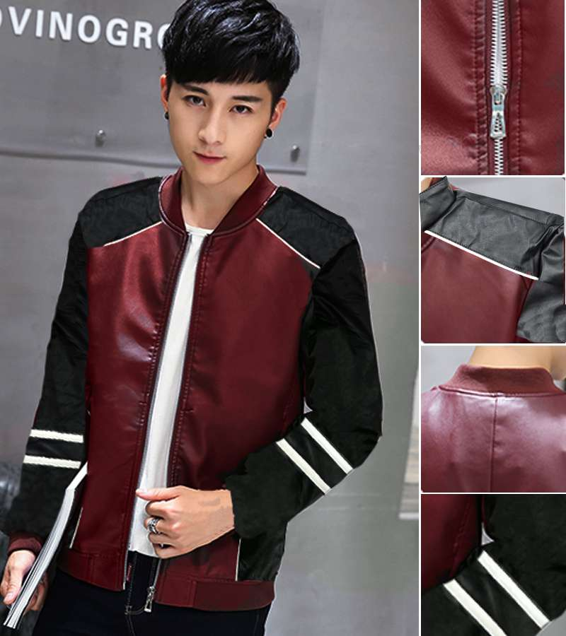 Red Leather jacket Teenagers Slim Motorcycle jackets New Fashion teenager outwear Jackets Leather clothing