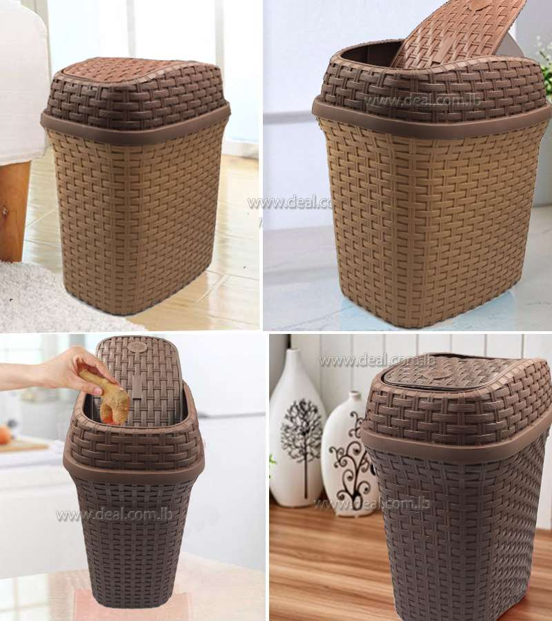 31*26cm Cover Waste Bin Household Kitchen Bathroom Large Plastic Trash Can Table Office Desk