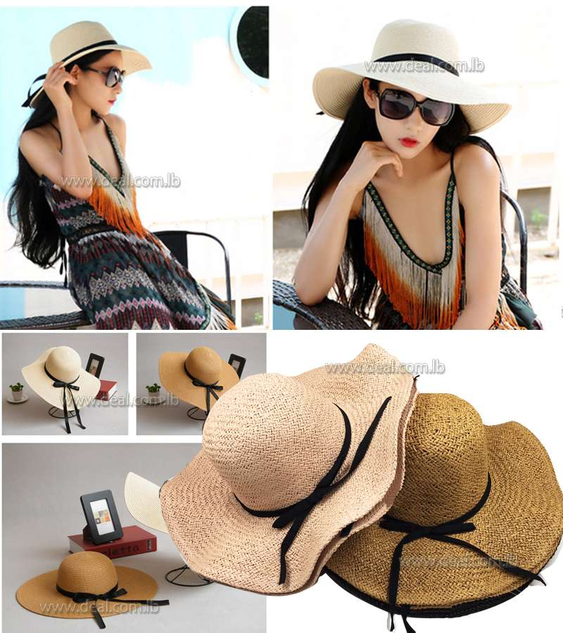 Summer Foldable Straw Sun Hat With Bow Floppy Wide Large Brim Hats Fashion Beach Travel Solid Cap UV Protection