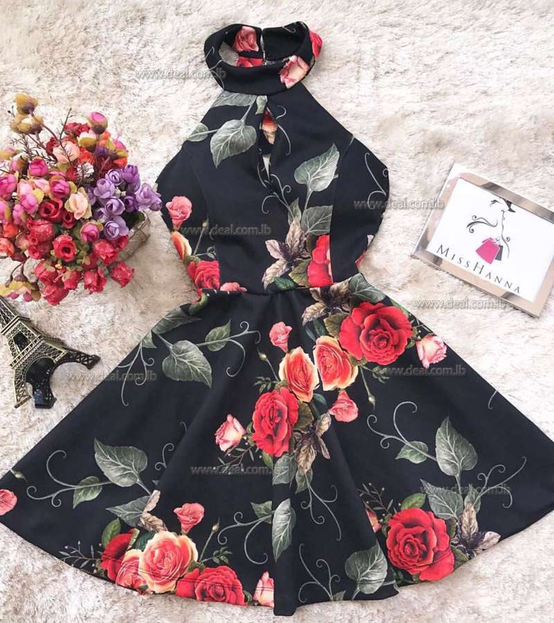 Black Sexy Summer dress with Flowers
