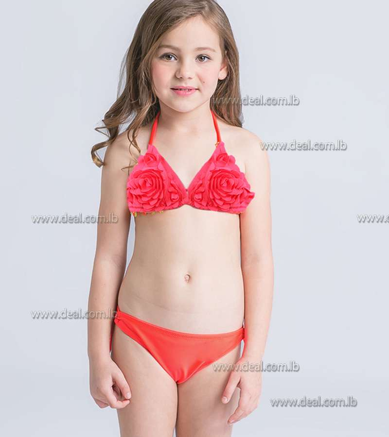 Orange children swimsuit floral 2 peices
