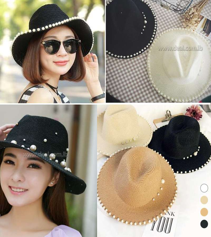 Summer Sun Hats Women Pearl Straw Hat Sunscreen UV Blocking Sun Hat Beach