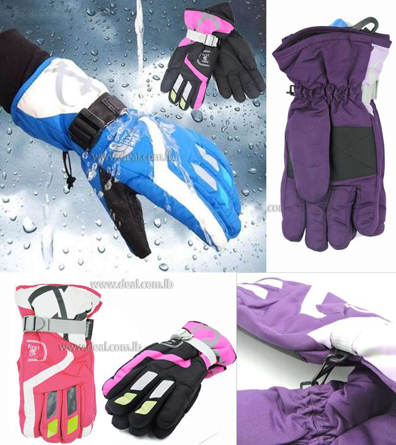 Unisex Thinsulate and Waterproof Quilted Ski Gloves