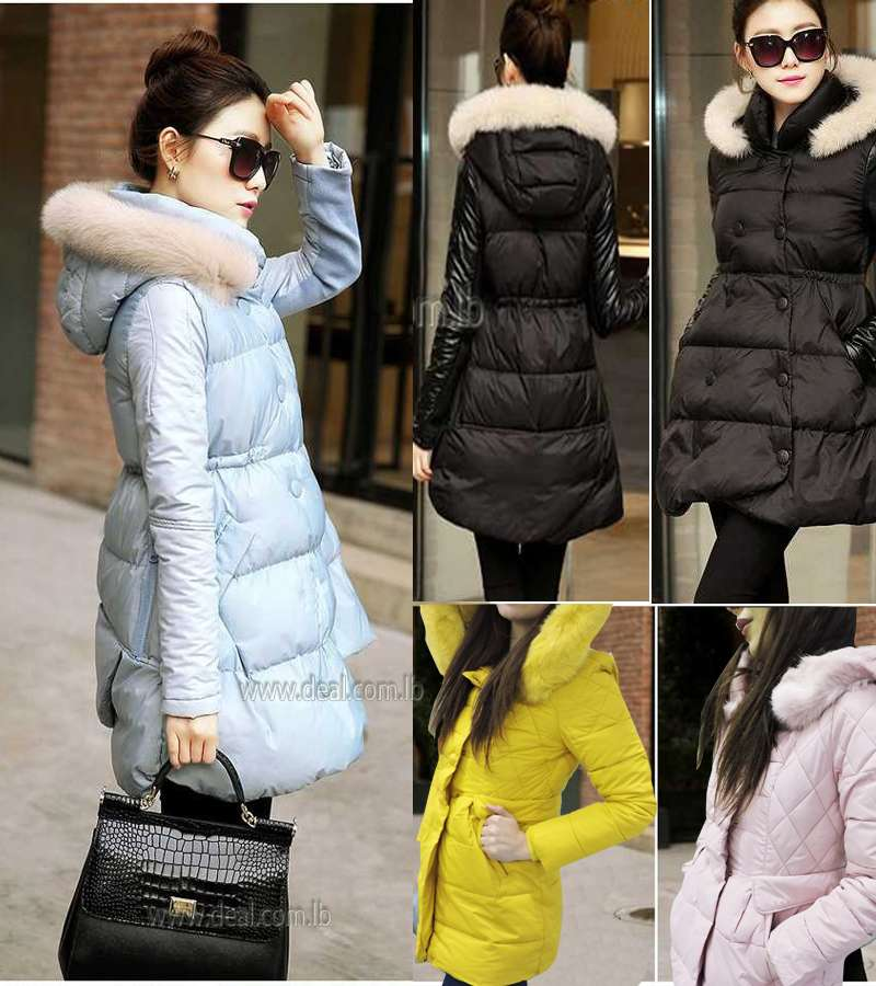 Light Blue Winter cotton thicken adjustable hem large fur collar hooded jackets Winter cotton thicken adjustable hem large fur collar hooded jackets