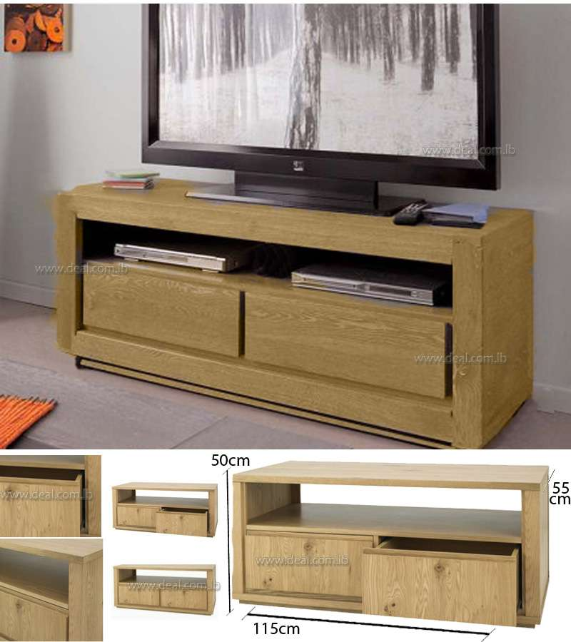 Oak TV Stand / Unit with 2 Drawers and Shelves