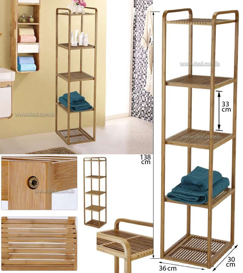 100% Bamboo Bathroom Shelf 5-Tier Multifunctional Storage Rack Shelving Unit