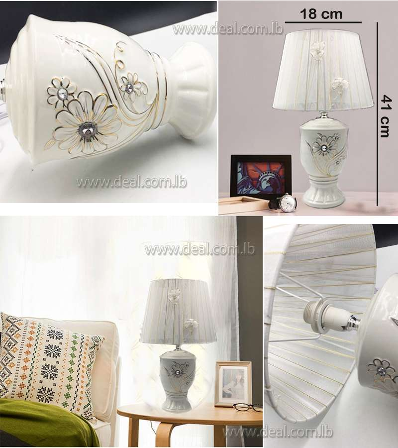 White Flower Design Classic Table Lamp