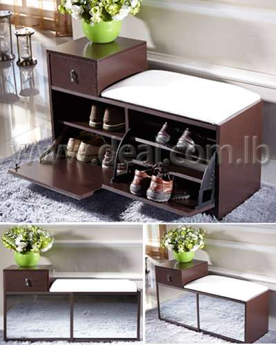 Wood shoe rack with white Mat