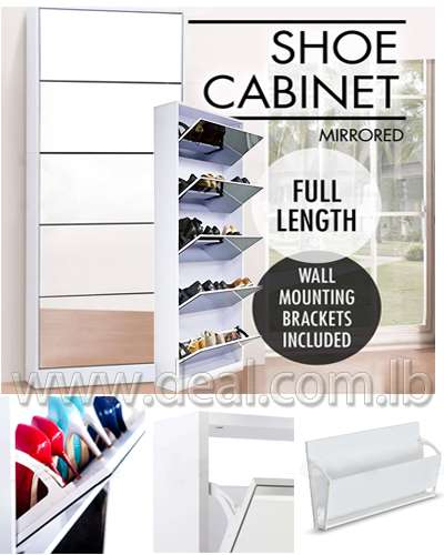 Wooden Mirror Shoe Cabinet With 5 Drawers