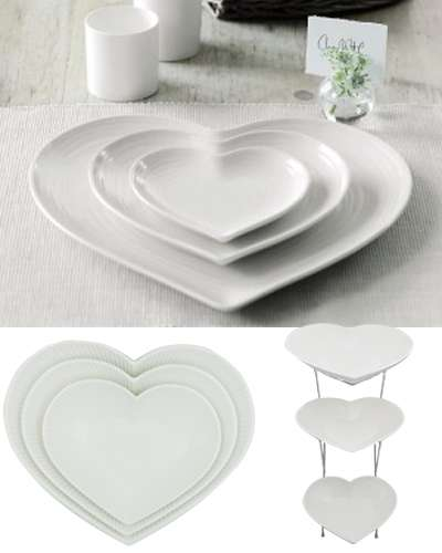 Heart shaped white plates