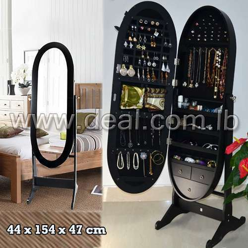 Black High Quality Cheval oval jewelry mirror armoire with floor standing Code Deal-118