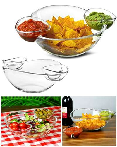 Chip and Dip Bowl with 2 Clip-On