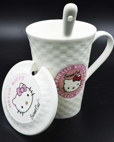 Hello Kitty Ceramic Mug Coffee Cup with Cover & Spoon
